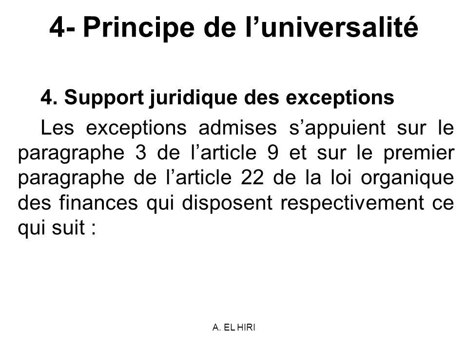 A. EL HIRI 4- Principe de luniversalité 4. Support juridique des exceptions Les exceptions admises sappuient sur le paragraphe 3 de larticle 9 et sur