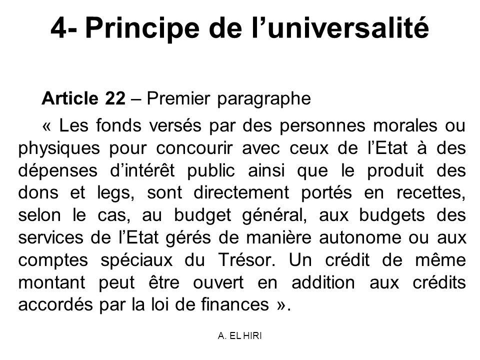 A. EL HIRI 4- Principe de luniversalité Article 22 – Premier paragraphe « Les fonds versés par des personnes morales ou physiques pour concourir avec