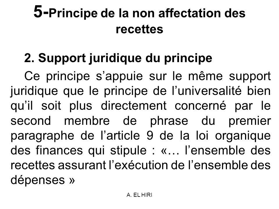A. EL HIRI 5- Principe de la non affectation des recettes 2. Support juridique du principe Ce principe sappuie sur le même support juridique que le pr