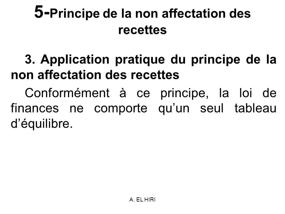 A. EL HIRI 5- Principe de la non affectation des recettes 3. Application pratique du principe de la non affectation des recettes Conformément à ce pri