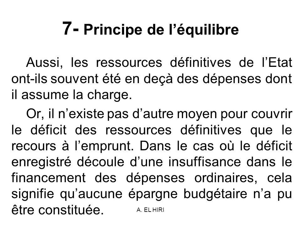 A. EL HIRI 7- Principe de léquilibre Aussi, les ressources définitives de lEtat ont-ils souvent été en deçà des dépenses dont il assume la charge. Or,