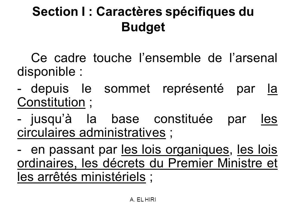 A. EL HIRI Section I : Caractères spécifiques du Budget Ce cadre touche lensemble de larsenal disponible : -depuis le sommet représenté par la Constit