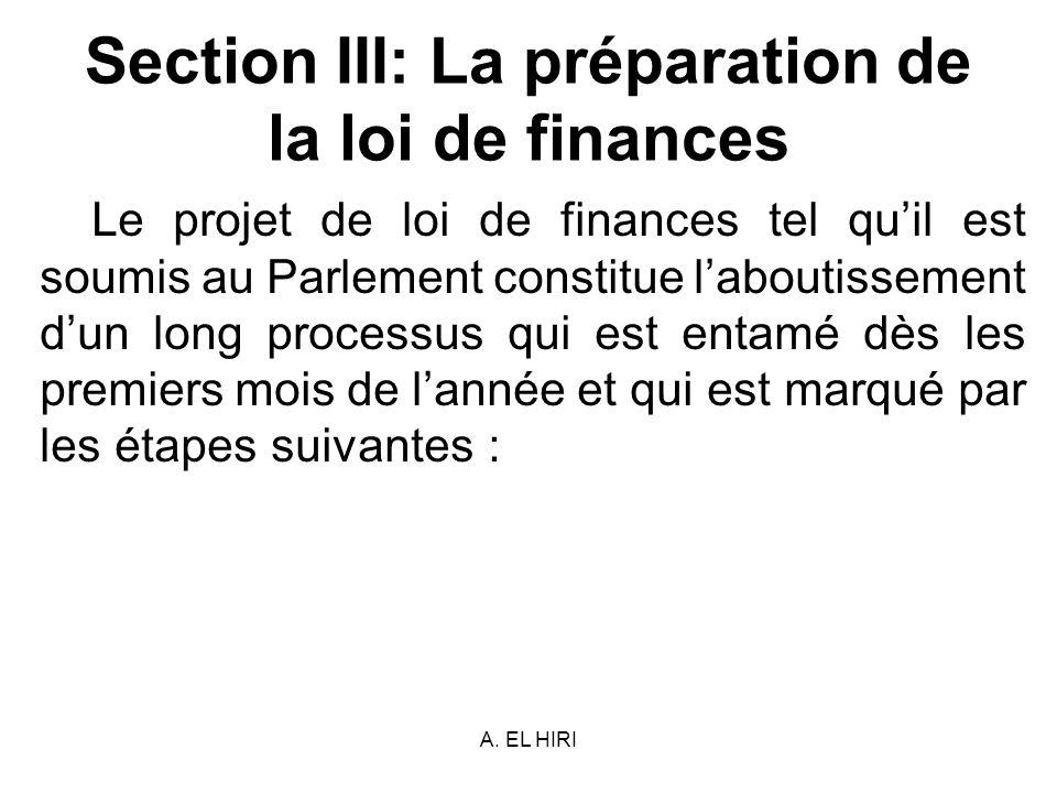 A. EL HIRI Section III: La préparation de la loi de finances Le projet de loi de finances tel quil est soumis au Parlement constitue laboutissement du