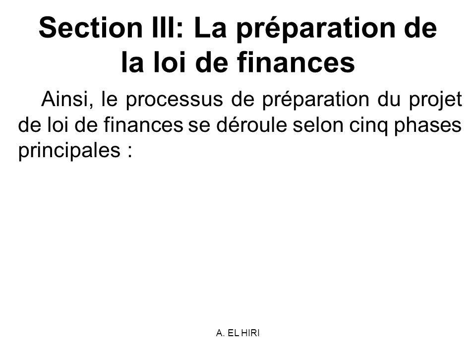 A. EL HIRI Section III: La préparation de la loi de finances Ainsi, le processus de préparation du projet de loi de finances se déroule selon cinq pha