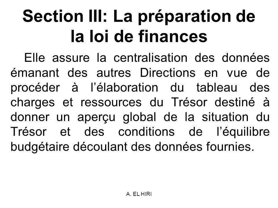 A. EL HIRI Section III: La préparation de la loi de finances Elle assure la centralisation des données émanant des autres Directions en vue de procéde