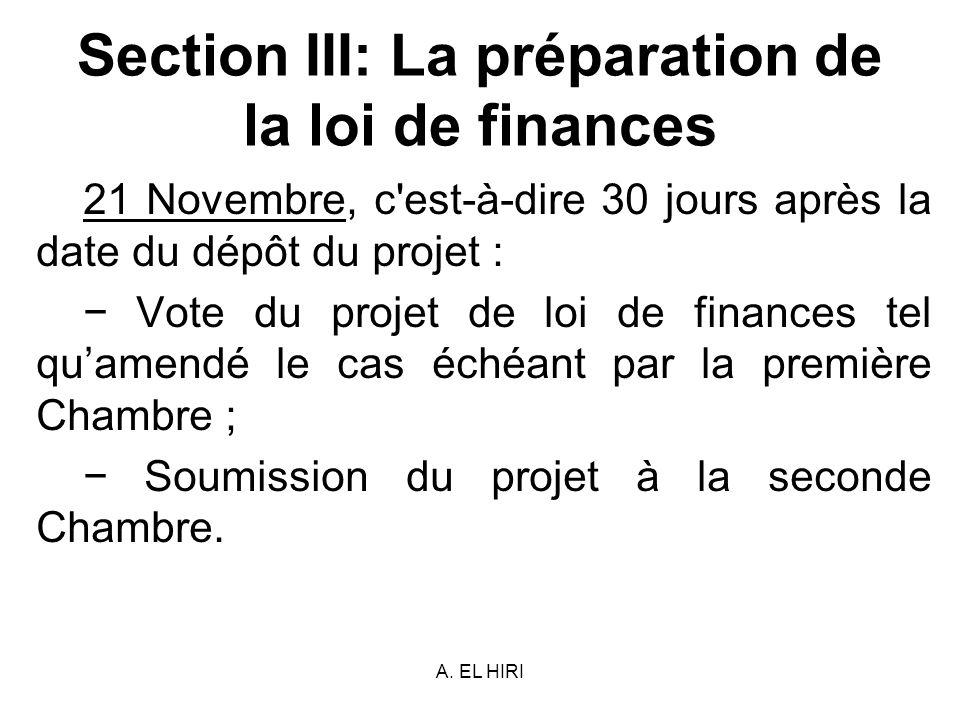 A. EL HIRI Section III: La préparation de la loi de finances 21 Novembre, c'est-à-dire 30 jours après la date du dépôt du projet : Vote du projet de l