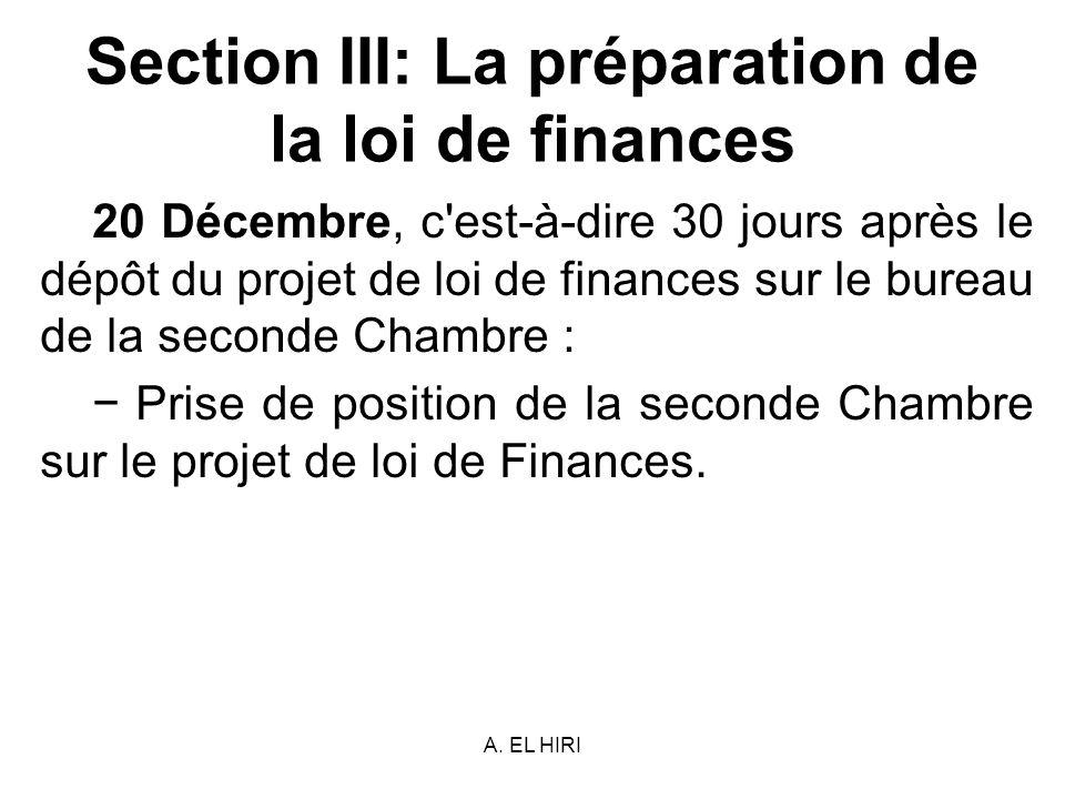 A. EL HIRI Section III: La préparation de la loi de finances 20 Décembre, c'est-à-dire 30 jours après le dépôt du projet de loi de finances sur le bur
