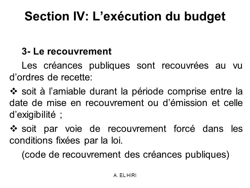 A. EL HIRI Section IV: Lexécution du budget 3- Le recouvrement Les créances publiques sont recouvrées au vu dordres de recette: soit à lamiable durant