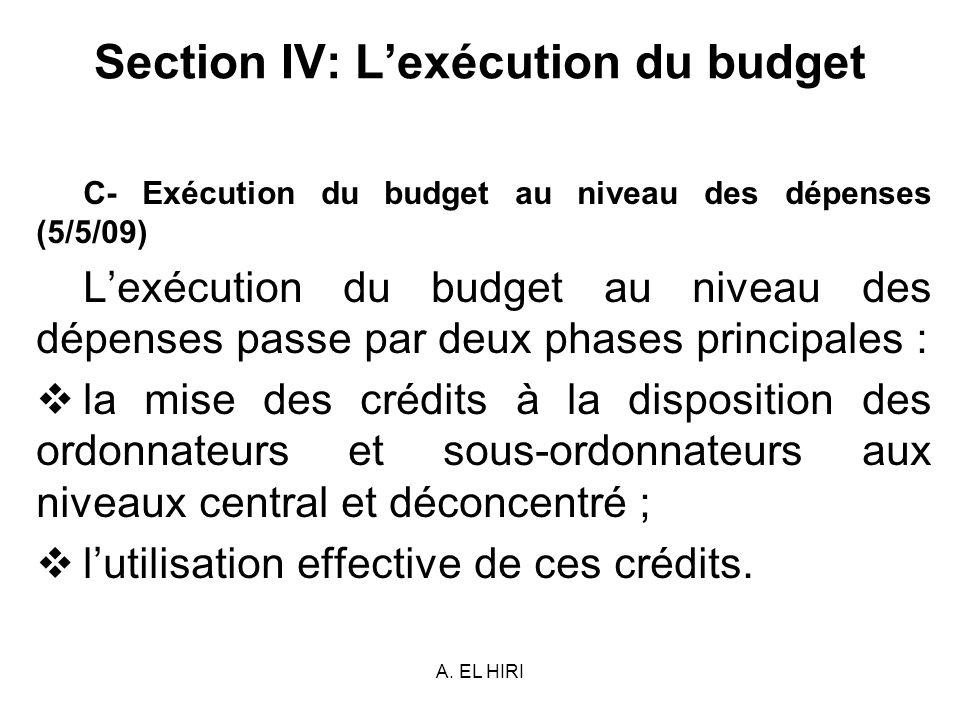 A. EL HIRI Section IV: Lexécution du budget C- Exécution du budget au niveau des dépenses (5/5/09) Lexécution du budget au niveau des dépenses passe p