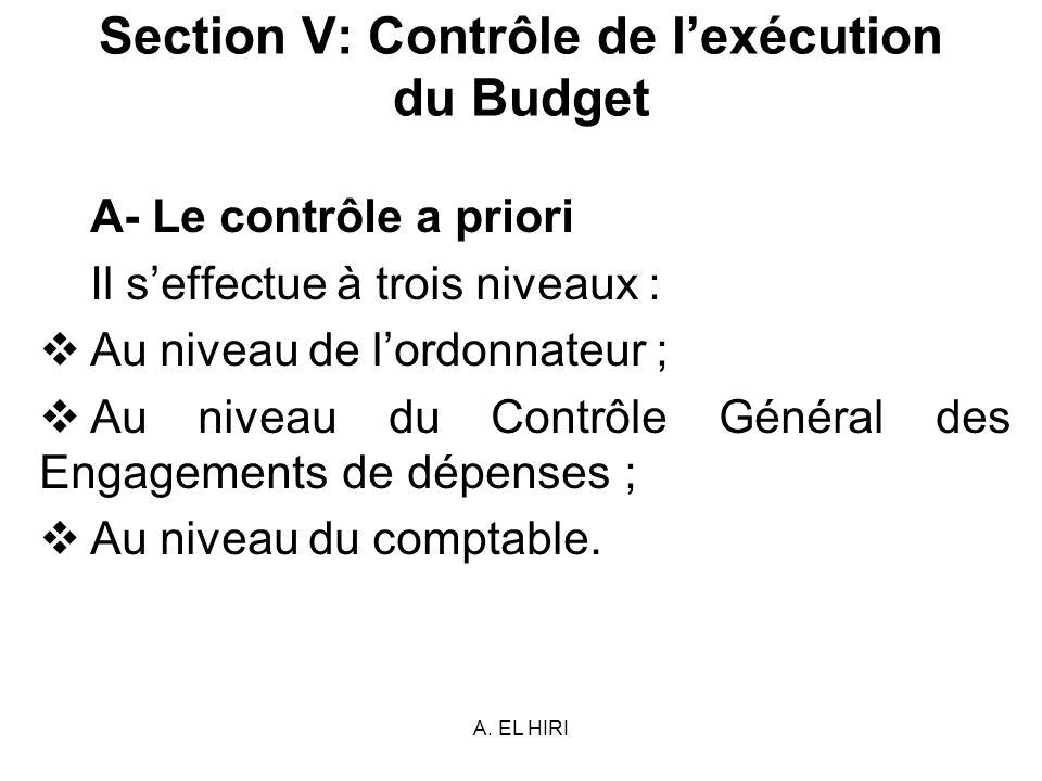 A. EL HIRI Section V: Contrôle de lexécution du Budget A- Le contrôle a priori Il seffectue à trois niveaux : Au niveau de lordonnateur ; Au niveau du