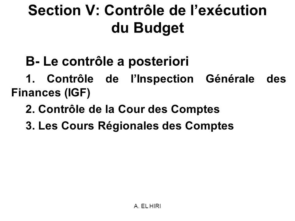 A. EL HIRI Section V: Contrôle de lexécution du Budget B- Le contrôle a posteriori 1. Contrôle de lInspection Générale des Finances (IGF) 2. Contrôle