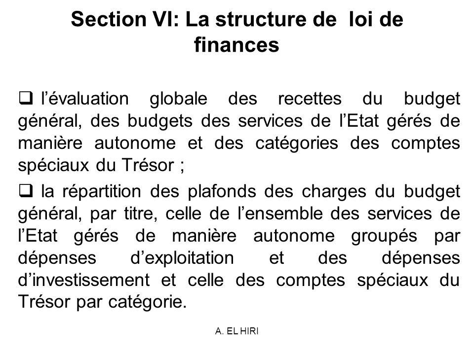 A. EL HIRI Section VI: La structure de loi de finances lévaluation globale des recettes du budget général, des budgets des services de lEtat gérés de