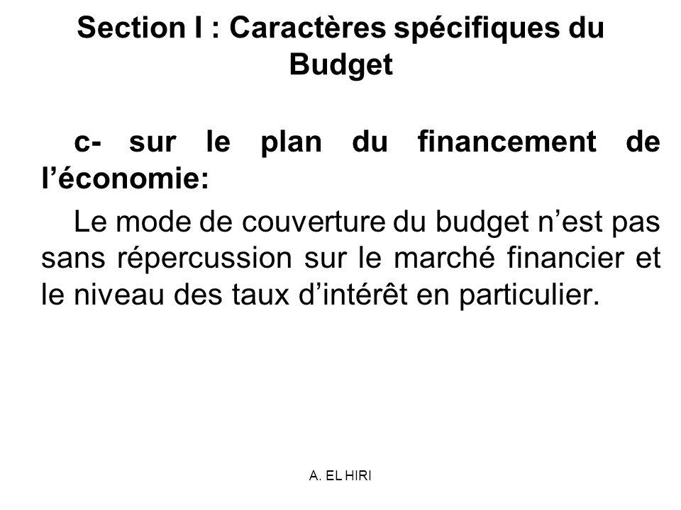 A. EL HIRI Section I : Caractères spécifiques du Budget c- sur le plan du financement de léconomie: Le mode de couverture du budget nest pas sans répe