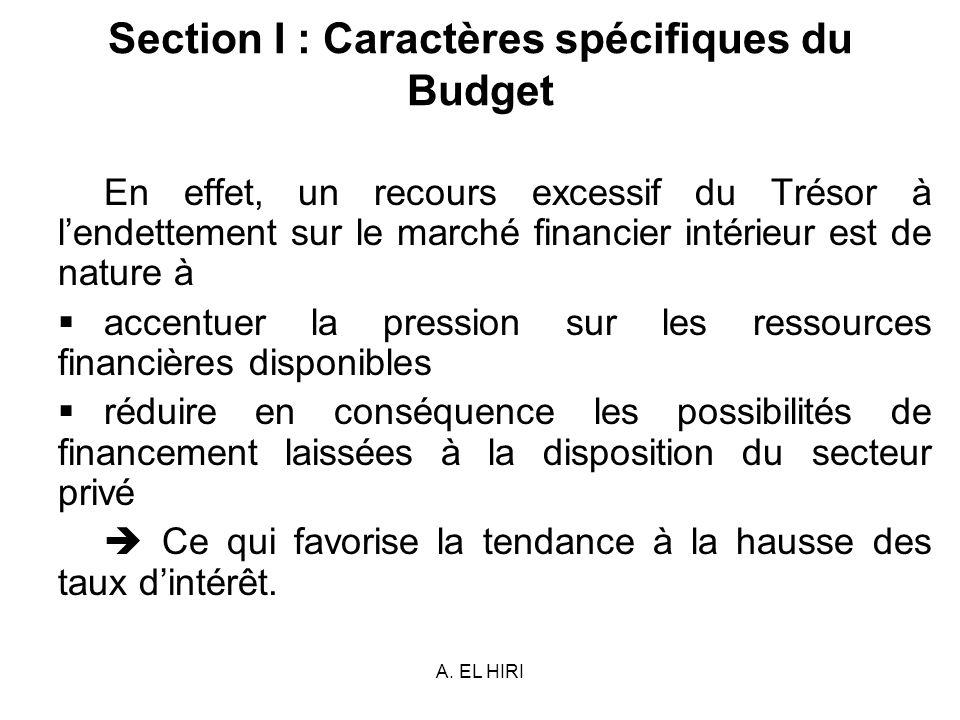 A. EL HIRI Section I : Caractères spécifiques du Budget En effet, un recours excessif du Trésor à lendettement sur le marché financier intérieur est d