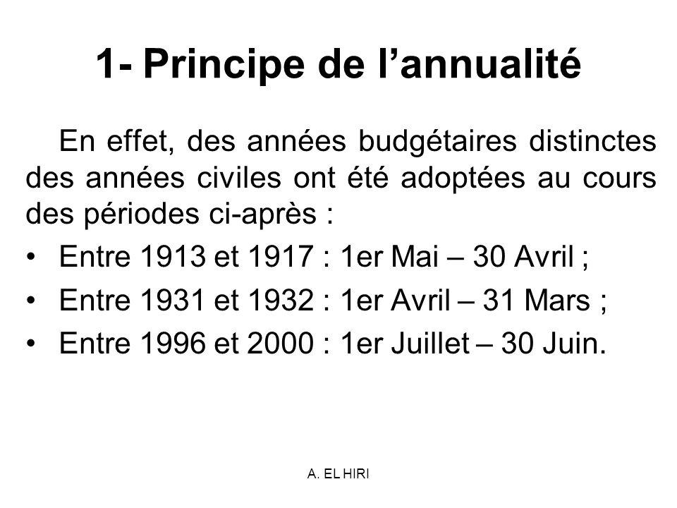 A. EL HIRI 1- Principe de lannualité En effet, des années budgétaires distinctes des années civiles ont été adoptées au cours des périodes ci-après :