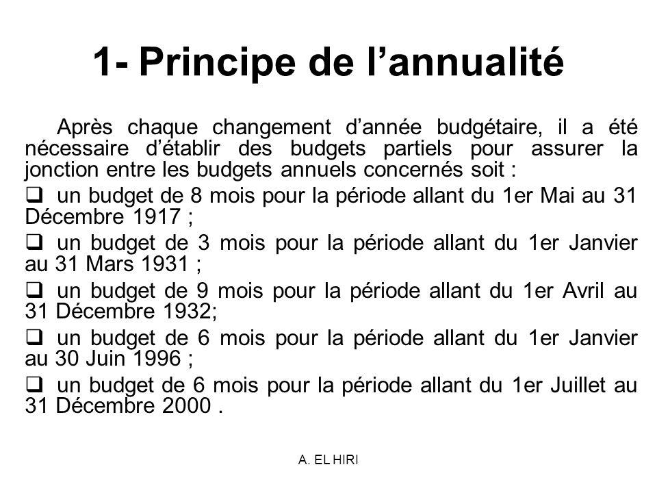 A. EL HIRI 1- Principe de lannualité Après chaque changement dannée budgétaire, il a été nécessaire détablir des budgets partiels pour assurer la jonc