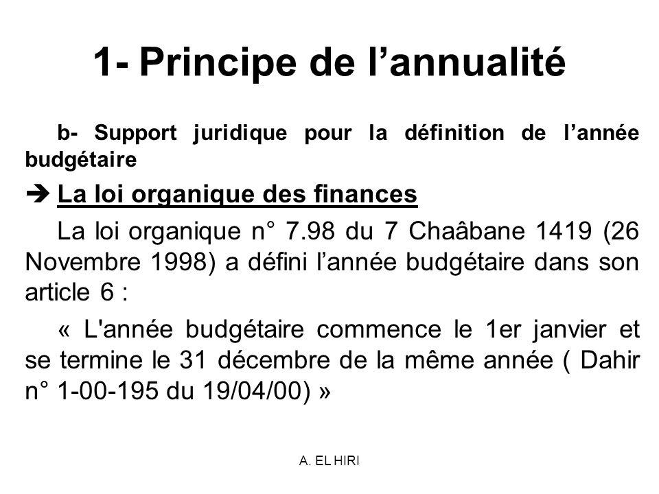 A. EL HIRI 1- Principe de lannualité b- Support juridique pour la définition de lannée budgétaire La loi organique des finances La loi organique n° 7.