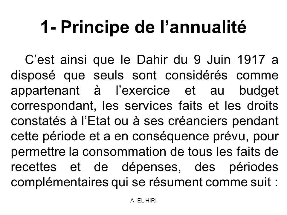 A. EL HIRI 1- Principe de lannualité Cest ainsi que le Dahir du 9 Juin 1917 a disposé que seuls sont considérés comme appartenant à lexercice et au bu