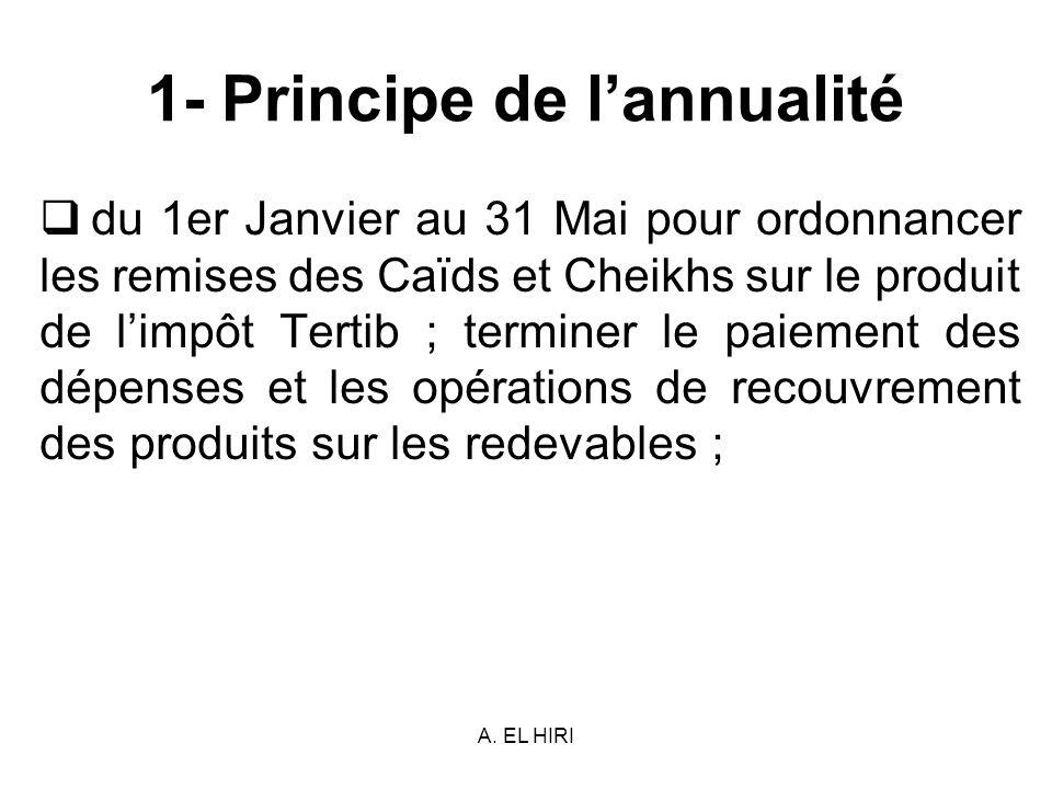 A. EL HIRI 1- Principe de lannualité du 1er Janvier au 31 Mai pour ordonnancer les remises des Caïds et Cheikhs sur le produit de limpôt Tertib ; term
