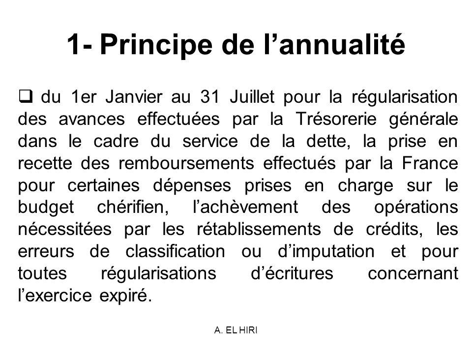 A. EL HIRI 1- Principe de lannualité du 1er Janvier au 31 Juillet pour la régularisation des avances effectuées par la Trésorerie générale dans le cad