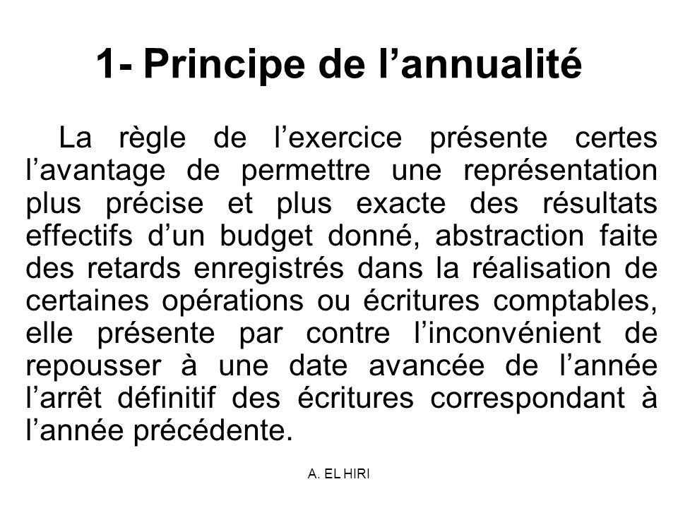 A. EL HIRI 1- Principe de lannualité La règle de lexercice présente certes lavantage de permettre une représentation plus précise et plus exacte des r