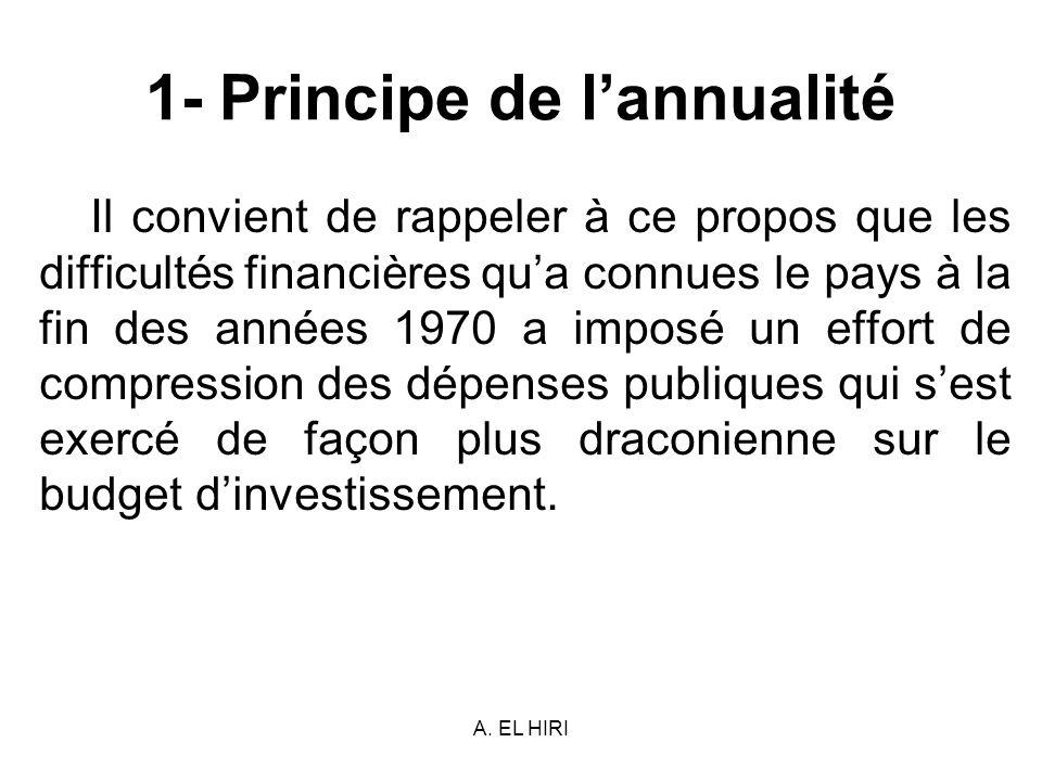 A. EL HIRI 1- Principe de lannualité Il convient de rappeler à ce propos que les difficultés financières qua connues le pays à la fin des années 1970
