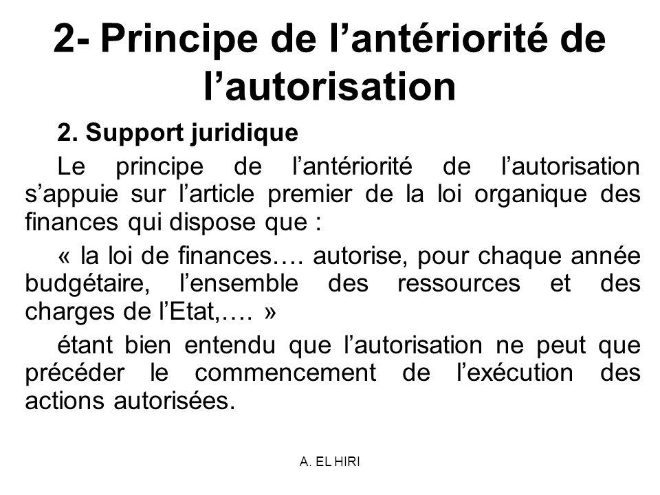 A. EL HIRI 2- Principe de lantériorité de lautorisation 2. Support juridique Le principe de lantériorité de lautorisation sappuie sur larticle premier