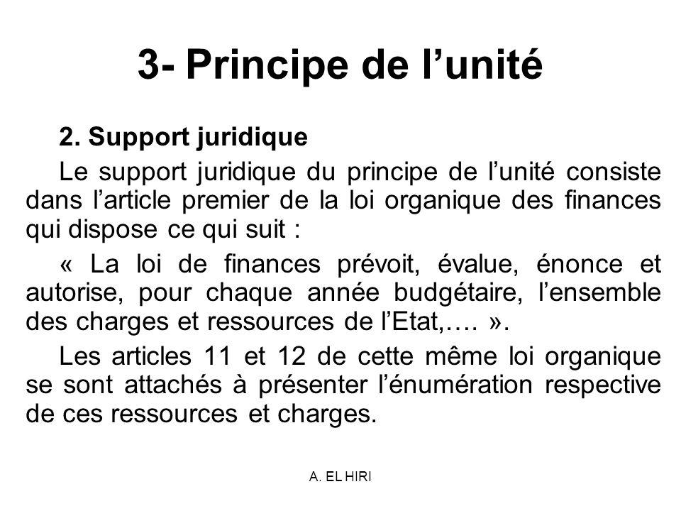 A. EL HIRI 3- Principe de lunité 2. Support juridique Le support juridique du principe de lunité consiste dans larticle premier de la loi organique de