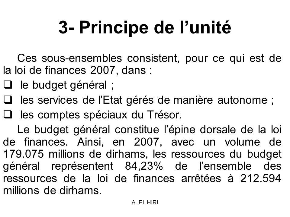 A. EL HIRI 3- Principe de lunité Ces sous-ensembles consistent, pour ce qui est de la loi de finances 2007, dans : le budget général ; les services de