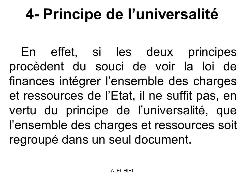 A. EL HIRI 4- Principe de luniversalité En effet, si les deux principes procèdent du souci de voir la loi de finances intégrer lensemble des charges e