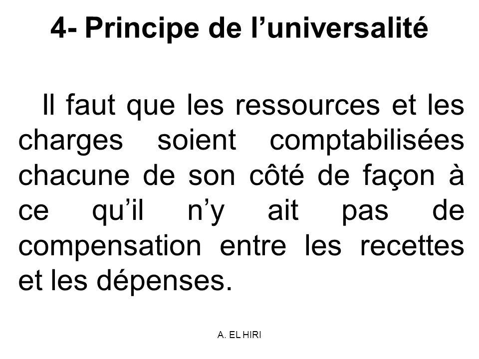 A. EL HIRI 4- Principe de luniversalité Il faut que les ressources et les charges soient comptabilisées chacune de son côté de façon à ce quil ny ait