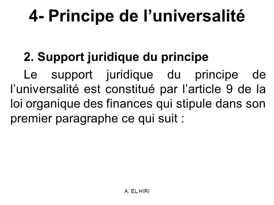 A. EL HIRI 4- Principe de luniversalité 2. Support juridique du principe Le support juridique du principe de luniversalité est constitué par larticle