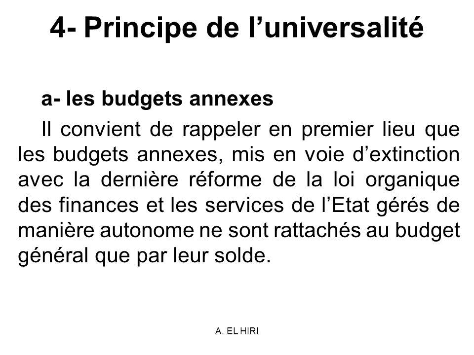 A. EL HIRI 4- Principe de luniversalité a- les budgets annexes Il convient de rappeler en premier lieu que les budgets annexes, mis en voie dextinctio