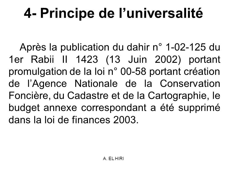 A. EL HIRI 4- Principe de luniversalité Après la publication du dahir n° 1-02-125 du 1er Rabii II 1423 (13 Juin 2002) portant promulgation de la loi n