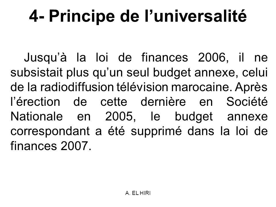 A. EL HIRI 4- Principe de luniversalité Jusquà la loi de finances 2006, il ne subsistait plus quun seul budget annexe, celui de la radiodiffusion télé