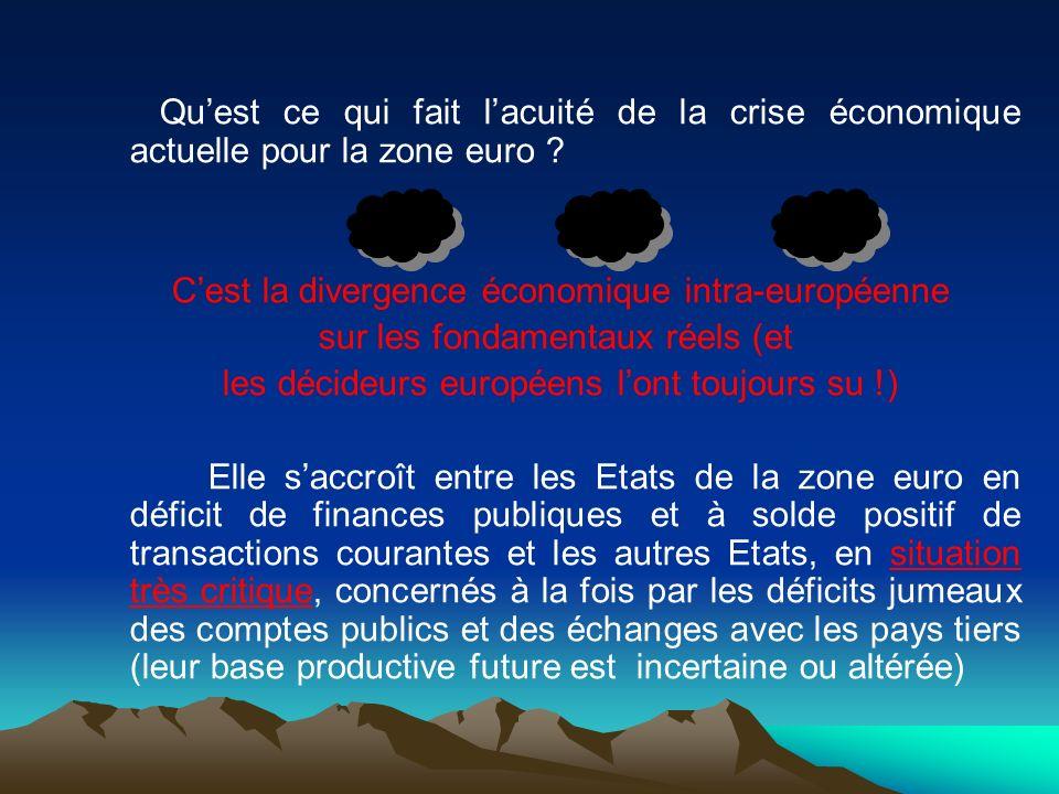 Quest ce qui fait lacuité de la crise économique actuelle pour la zone euro ? Cest la divergence économique intra-européenne sur les fondamentaux réel