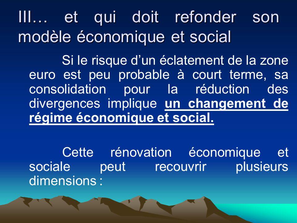 III… et qui doit refonder son modèle économique et social Si le risque dun éclatement de la zone euro est peu probable à court terme, sa consolidation