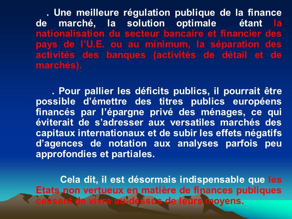 . Une meilleure régulation publique de la finance de marché, la solution optimale étant la nationalisation du secteur bancaire et financier des pays d