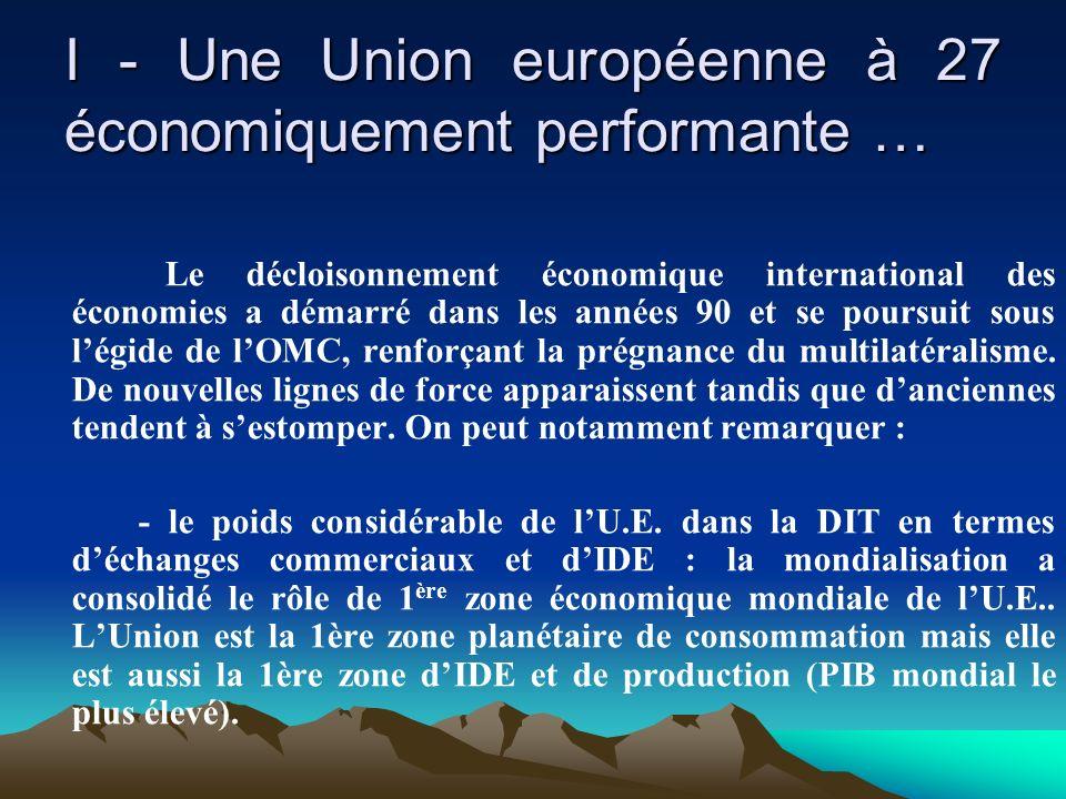 I - Une Union européenne à 27 économiquement performante … Le décloisonnement économique international des économies a démarré dans les années 90 et s