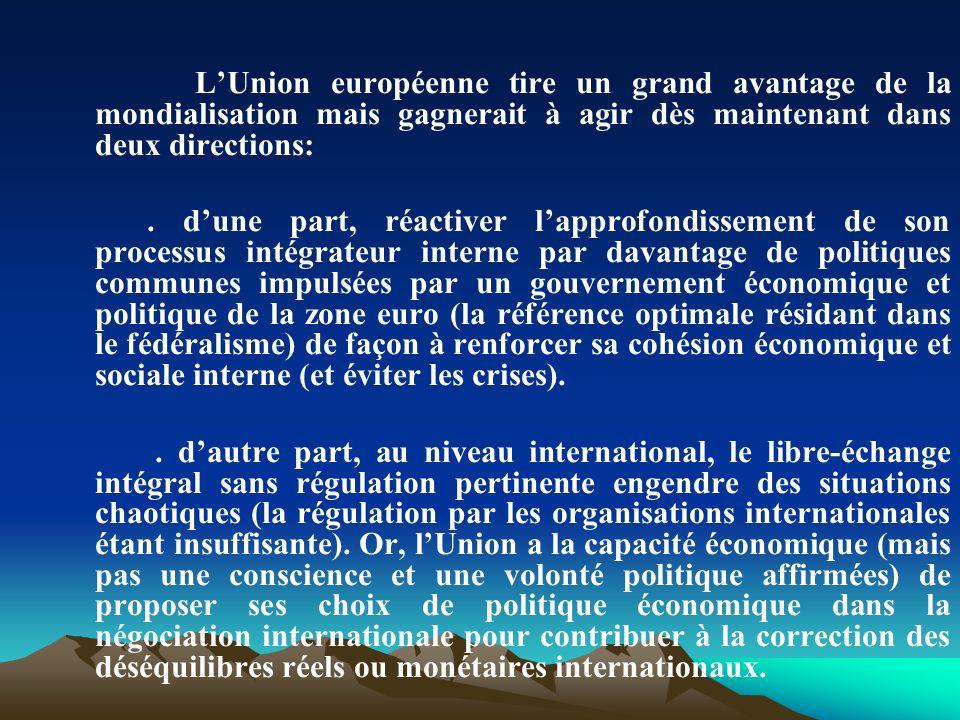La dérive des pays en difficulté de soldes courants de la zone euro (Grèce, Espagne, Portugal, Irlande et dans une certaine mesure, lItalie et la France), en raison de leur insertion difficile (?) dans la DIT, doit conduire lU.E.