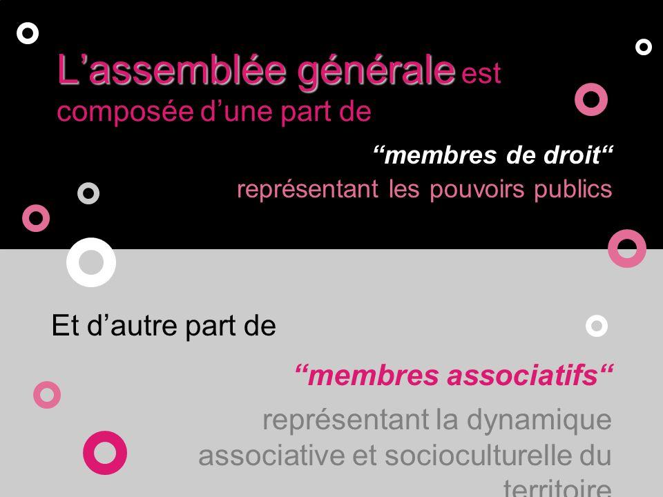Conseil dAdministrationlAssemblée Générale Le Conseil dAdministration, élu par lAssemblée Générale, comporte un nombre égal de membres de droits et de membres associatifs.