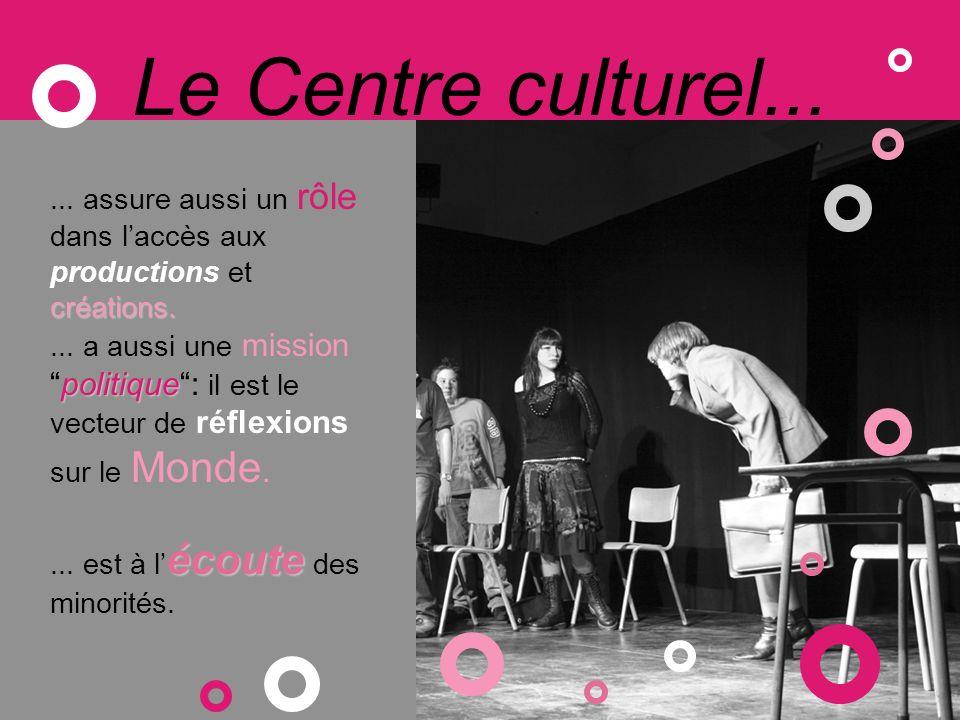 Le Centre culturel... créations.... assure aussi un rôle dans laccès aux productions et créations.