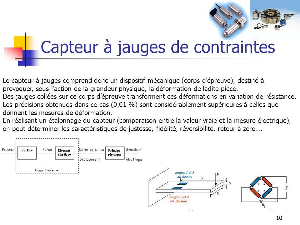 10 Capteur à jauges de contraintes Le capteur à jauges comprend donc un dispositif mécanique (corps dépreuve), destiné à provoquer, sous laction de la