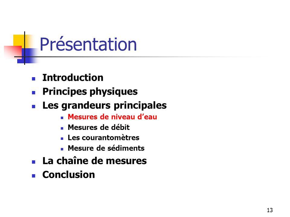 13 Introduction Principes physiques Les grandeurs principales Mesures de niveau deau Mesures de débit Les courantomètres Mesure de sédiments La chaîne