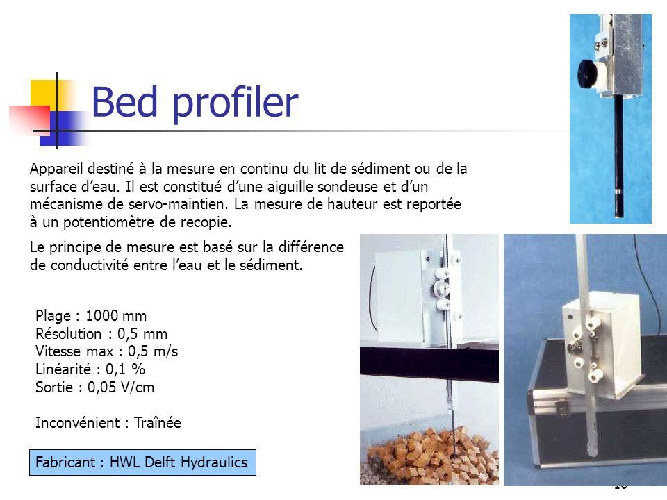 16 Bed profiler Plage : 1000 mm Résolution : 0,5 mm Vitesse max : 0,5 m/s Linéarité : 0,1 % Sortie : 0,05 V/cm Inconvénient : Traînée Appareil destiné