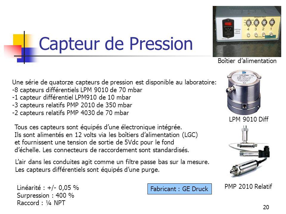 20 Capteur de Pression PMP 2010 Relatif LPM 9010 Diff Fabricant : GE Druck Une série de quatorze capteurs de pression est disponible au laboratoire: -