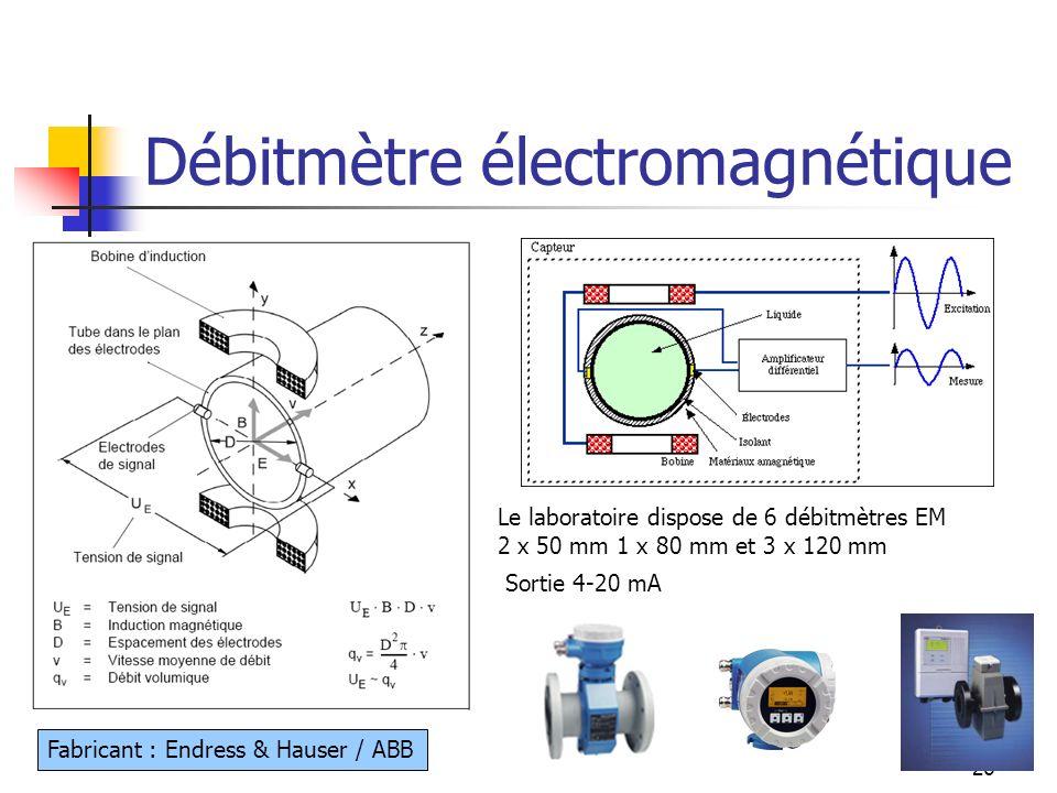 26 Débitmètre électromagnétique Le laboratoire dispose de 6 débitmètres EM 2 x 50 mm 1 x 80 mm et 3 x 120 mm Sortie 4-20 mA Fabricant : Endress & Haus