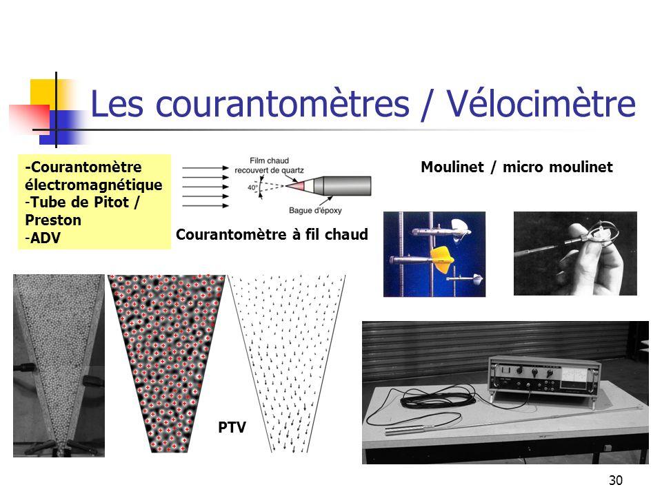 30 Les courantomètres / Vélocimètre -Courantomètre électromagnétique -Tube de Pitot / Preston -ADV PTV Moulinet / micro moulinet Courantomètre à fil c