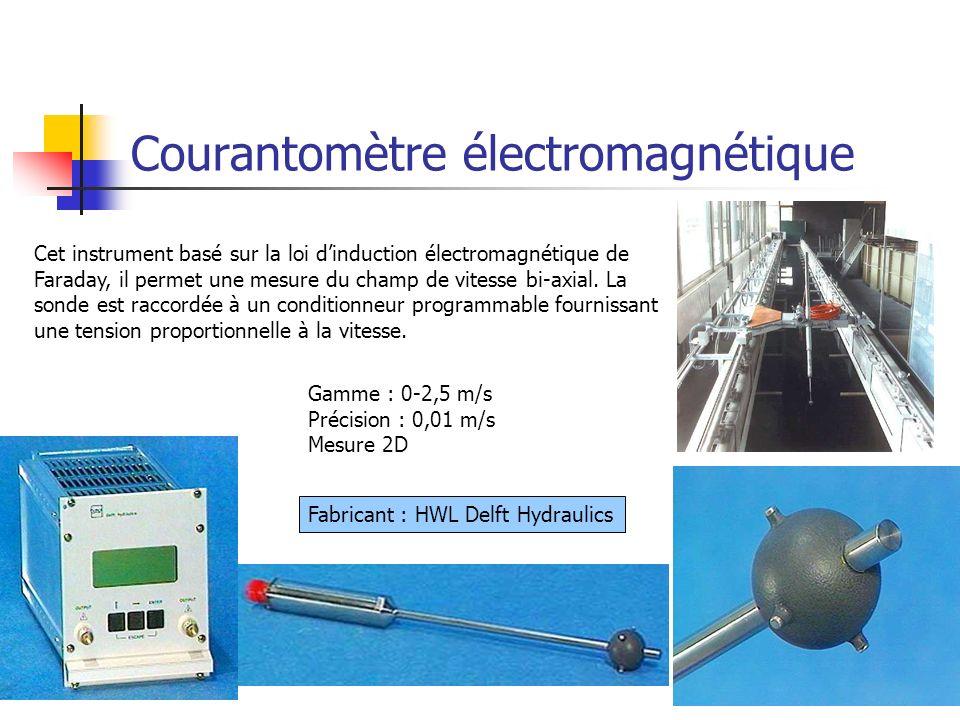 31 Courantomètre électromagnétique Fabricant : HWL Delft Hydraulics Cet instrument basé sur la loi dinduction électromagnétique de Faraday, il permet