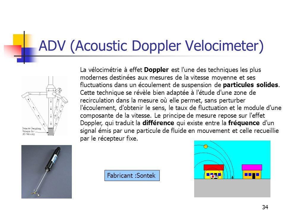 34 ADV (Acoustic Doppler Velocimeter) La vélocimétrie à effet Doppler est l'une des techniques les plus modernes destinées aux mesures de la vitesse m